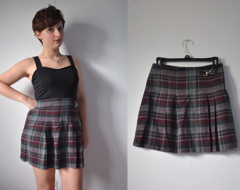 Vintage 1980s 80s eighties plaid wool blend mini skirt red