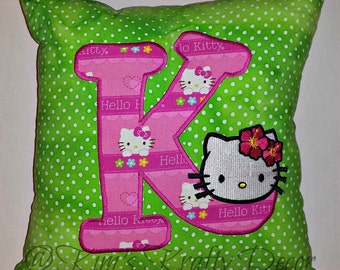 Custom Personalized Hello Kitty Green and Pink Pillow