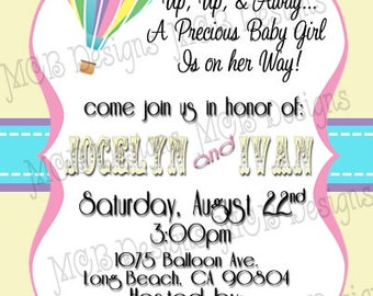 Set of (8) Up, Up, & Away Baby Shower Invitations