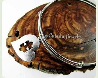 Autism Awareness Bracelet,  Autism Awareness Bangle, Puzzle Piece Bracelet, Adjustable Wire Bangle Bracelet, Autism Awareness Jewelry