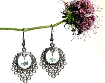 Hippie gypsy jewelry, silver chandelier earrings, apatite jewelry, hippie gypsy earrings, blue gemstone jewelry natural gemstone earring syn