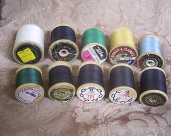 10 Vintage Wood Thread Spools