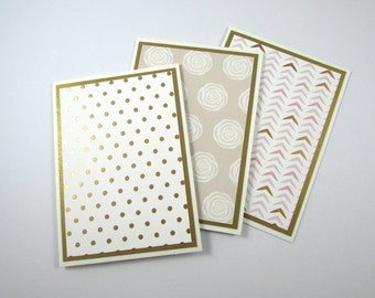 Blank Note Cards, SET OF 3, Handmade, Stationery