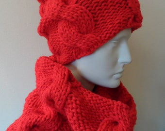 Knitting winter set: hat and scarf