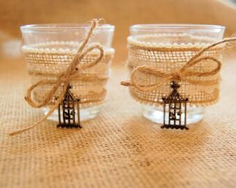 Rustic Birdcage Burlap Votive Candleholder Set of 2