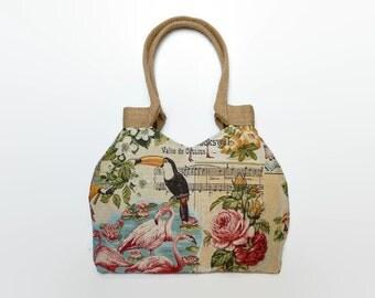 Tapestry tote bag, gobelin tote bag, large handbag, floral shoulder bag, flamingos , tapestry bag, tapestry handbag, fashionable tote bag,