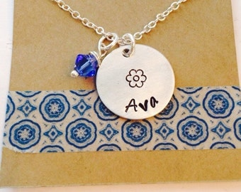 Hand Stamped Name Necklace with Swarorski Crystal Flower Girl Necklace, Flower Girl Gift, Birthday Gift