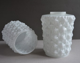 Vintage glass lamp shades - Set of 2 - USSR 1970s - Home decor.