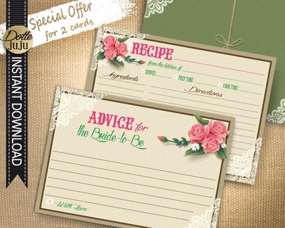 bridal shower advice cards template - vintage lace kraft printable recipe card advice card