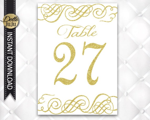 1 30 elegant gold swirl printable wedding table numbers cards diy table signs template by. Black Bedroom Furniture Sets. Home Design Ideas
