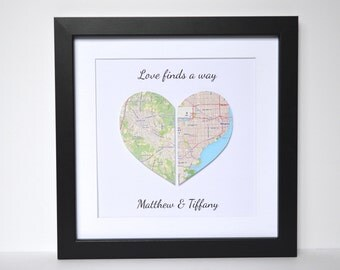 Paper Anniversary Gift- Map Print Anniversary Gift, Unique Anniversary Gift, First Anniversary, Gift for Husband, Gift for Wife, Map Art