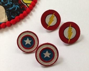 Superhero Earrings (Captain America or The Flash)