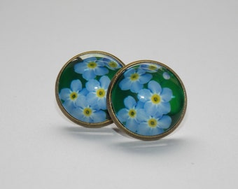 Forget-me-not Flower Earrings, Flower Earrings, Cabochon Earrings