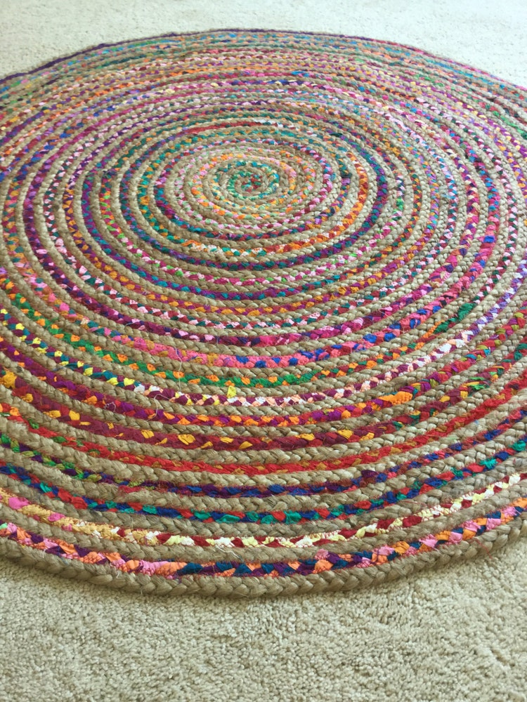 Round Rag Rug Boho Chic Hippie Area Rug Vegan By