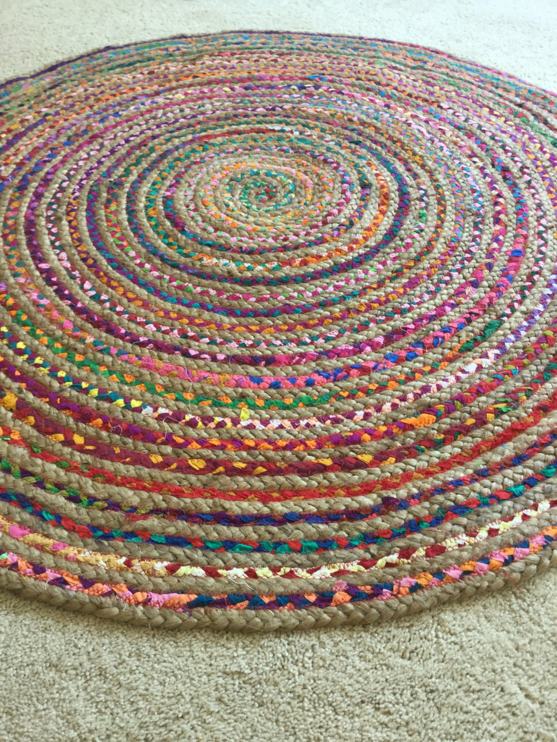 Round Jute Rug 8 Feet Boho Chic Hippie Area By