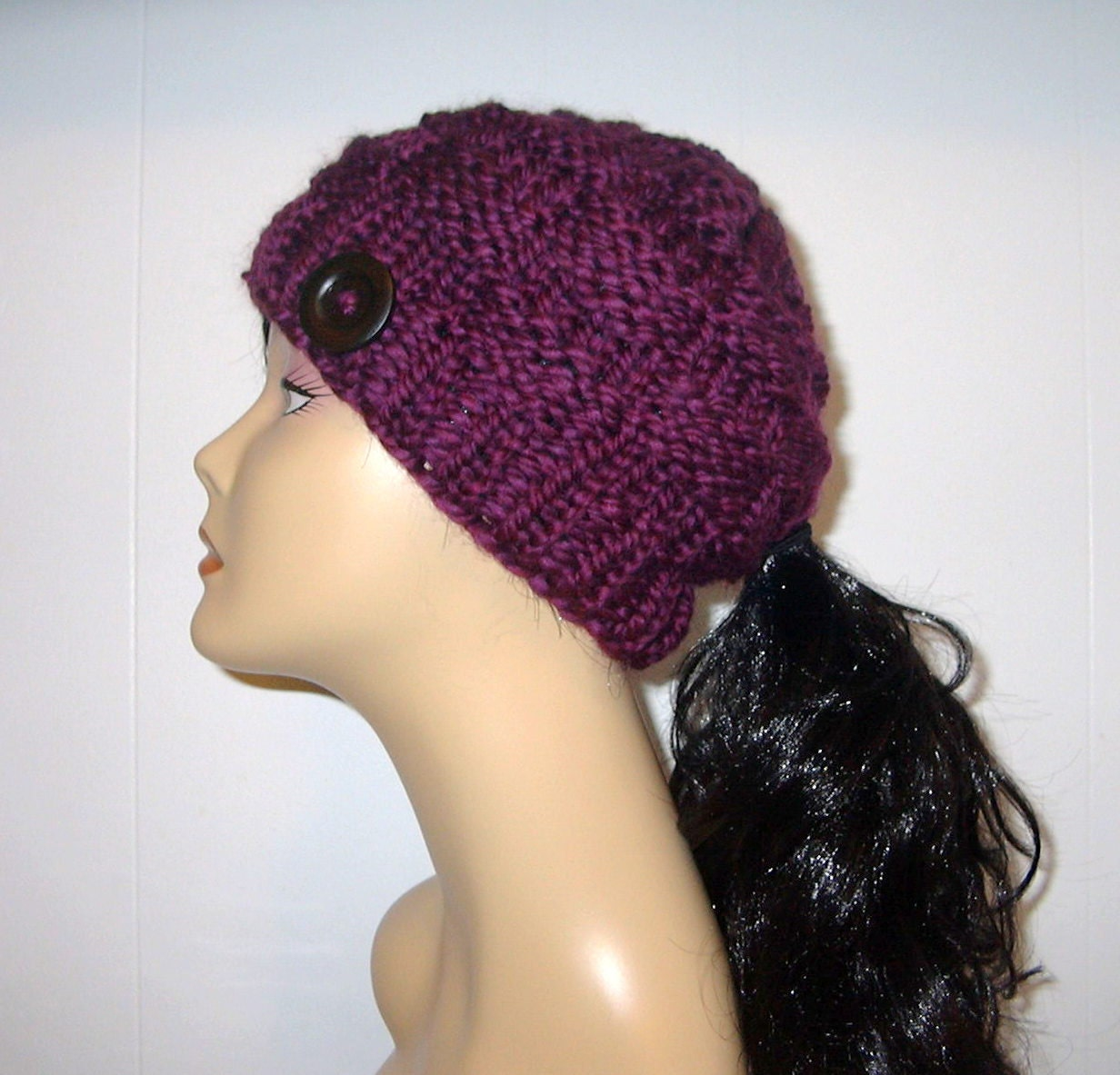 Chunky Knit Purple Plum Ponytail Hat Beanie Pony Tail Hole