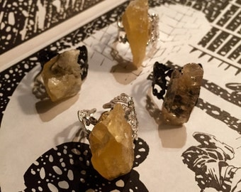 Calcite stone on adjustable silver filigree band