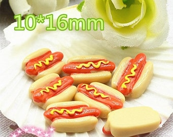 5 pieces Kawaii hot dog flatback decoden cabochon faux food 16mm long cinema cool cabs deco phone case creations UK faux food embellishments