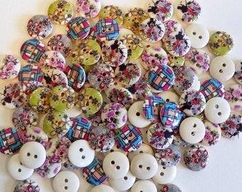 20 Mixed Flower Buttons - #WS-00008