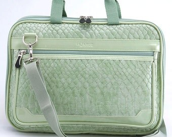 Crocodile 12 Inch New MacBook Laptop Bag / Laptop Shoulder Bag/ Removable Shoulder Strap/ Padded Laptop Bag - Lily Green