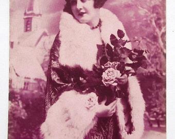 French antique postcard. Woman girl lady portrait. Art deco tinted postcard 1930s.