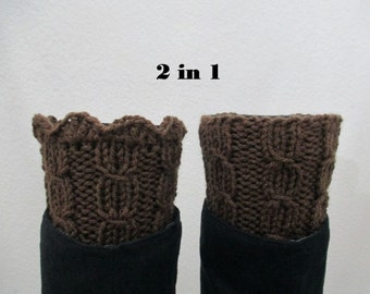 Boot Cuffs,Womens Boot Cuffs,Leg Warmers,Boot Socks,Boot Toppers,Brown,2 in 1,Women Leg Warmers,Hand Knitted Boot Cuffs,Ready to Ship, SR207