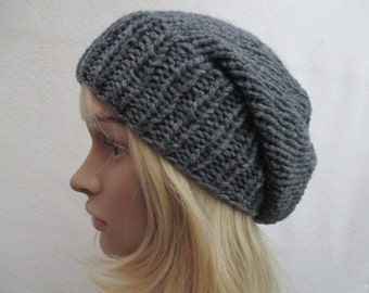 Knit Slouchy Beanie Hat Slouch Hat Baggy Hat Mens Womens  Grey Gray