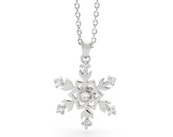 S/Silver Christmas Snowflake Pendant - Necklace