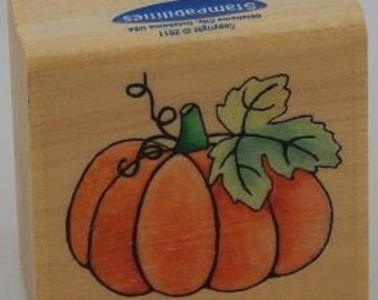Harvest Pumpkin Rubber Stamp, Cards, Crafts, Gift Tags, Paper