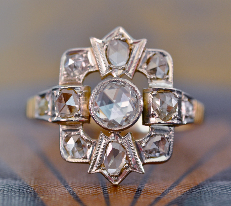 victorian engagement ring unique engagement ring rose cut. Black Bedroom Furniture Sets. Home Design Ideas