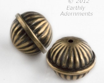 Oxidized hollow brass fluted bead 17x20mm. Package of 2. b18-0428(e)