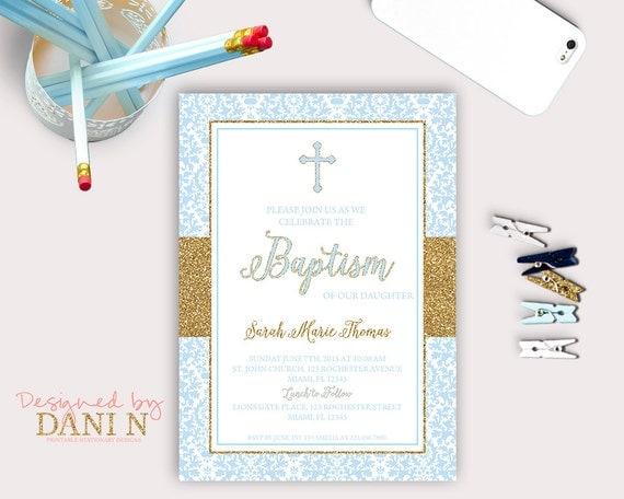Damask baptism invitation blue boy christening catholic baptism il570xn stopboris Image collections