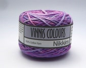 Set of 2 x 50g double knit balls - Vinnis Colours, 100% cotton yarn, hand dyed - Purple Mix