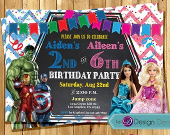 Avengers and Barbie JOINT Birthday party Invitations. /Avengers invites/ Barbie /Chalkboard/Printable Digital. #C1028