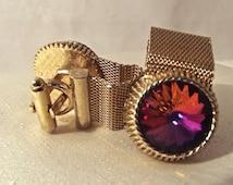 Vintage Mesh Wrap Cufflinks, Gold Tone Cufflinks, Dante Cuff Links, Volcano Rivoli Glass, Vintage Men's Gift, Mad Men, Formal Wear