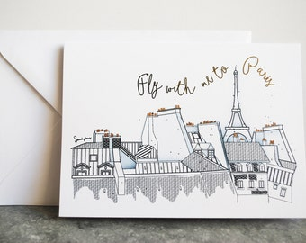 Paris Greeting Cards, Fly With Me To Paris
