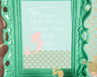 Mermaid Party Invitation Digital, Under the sea invitation