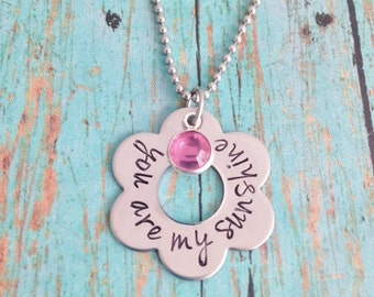 You are my sunshine Flower Necklace and with Swarovski Crystal Birthstone