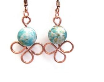 Turquoise Blue Copper Earrings