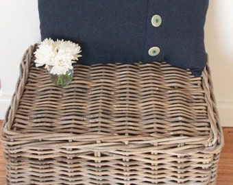 Navy Woollen Cushion Cover