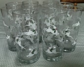 Ten Christmas Glasses With Reindeers.  Early 90s