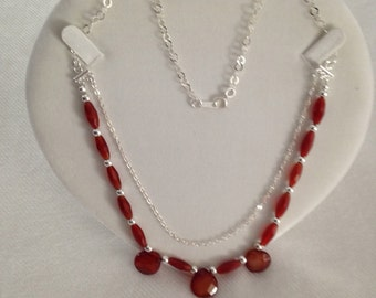 Necklace in 925 Silver with agate coffee