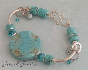 Turquoise round coin bead silver tube accent bracelet