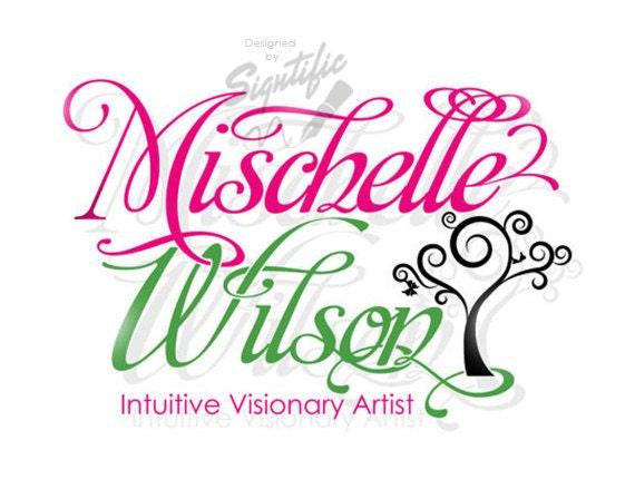 Custom logo design, logo with clipart, custom artist logo, decorative logo, signature style logo, premade logo, green and pink logo design