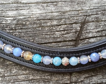 To the Lighthouse: Dressage or hunter browband for horses with blue and beige (sand-tone) agate beads and silver spacers and beads