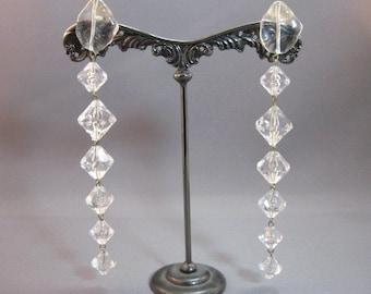 Vintage extra long dangle clear acrylic earrings