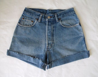 High waisted shorts, vintage blue distressed denim jean shorts, cut off cuffed frayed hotpants, small waist 26 27