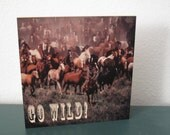 Go Wild! Cowboy wild west horse wood block wall/shelf graphic art wall decor