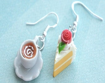 vanilla cake and coffee earrings - miniature food jewelry, mismatched earrings, coffee cup earrings