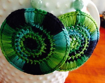 Crocheted Earrings Green Variegated